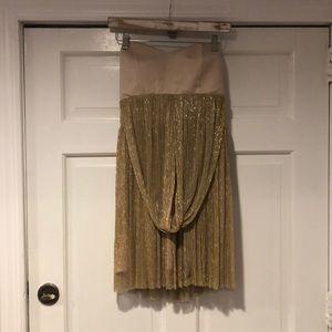 ALEXIA ADMOR Beige/Gold Strapless Dress 8